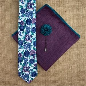 ⚜️HP⚜️ Men's White Floral Tie Accessory Set